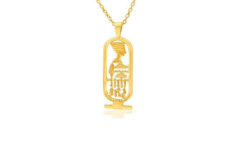 Lone star qatar cartouche custom gold pendant mozeypictures Image collections